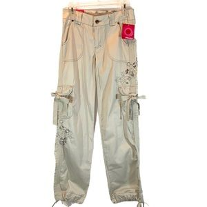 Xhilaration 1 tan cropped embroidered cargo pants